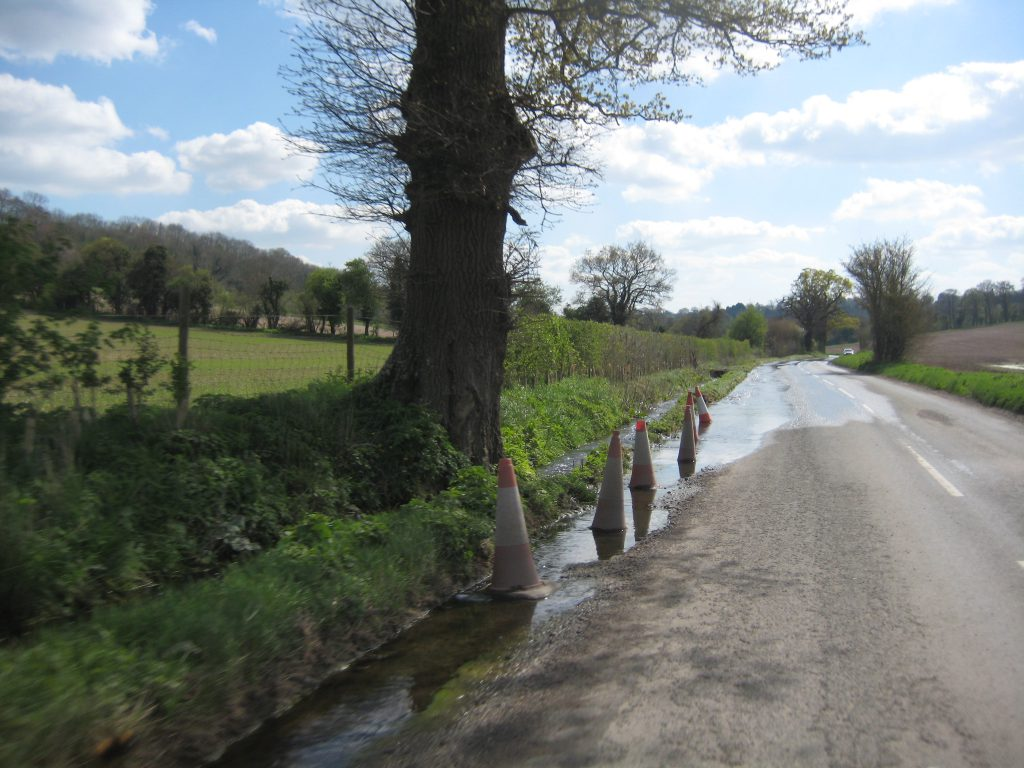 Assendon Stream caused flooding of roads and property in April 2014