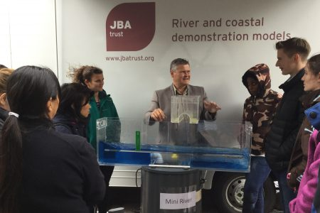 University students learn how to use physical models to explain flood risk