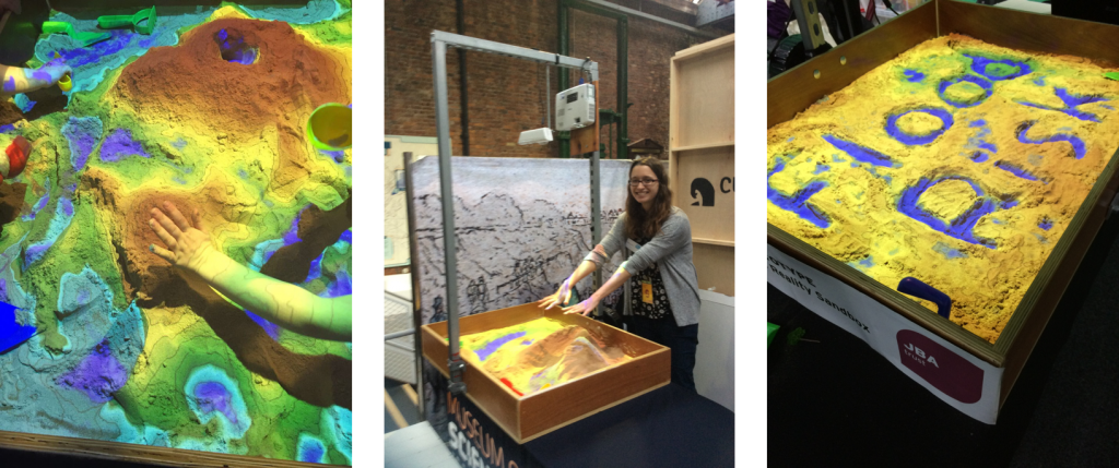 Heather Norton demonstrates how the AR Sandbox visualises topography and flooding at the Manchester Science Festival