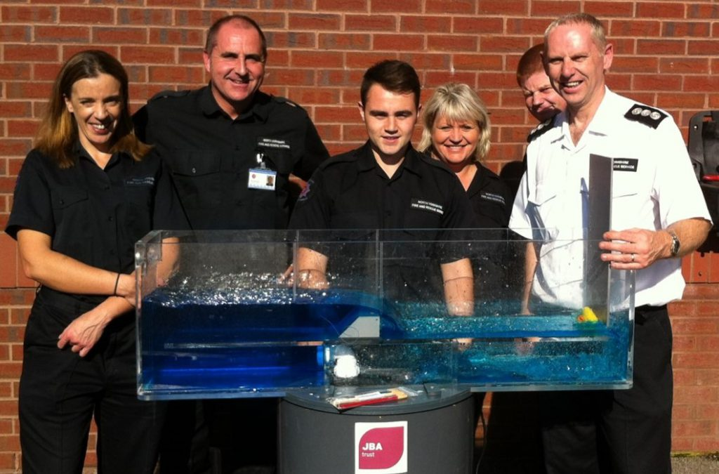 The North Yorkshire Fire and Rescue Service using the mini-flume to raise awareness of water safety.