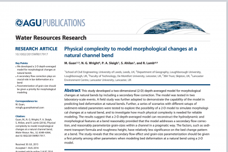 Physical complexity to model morphological changes at a natural channel bend